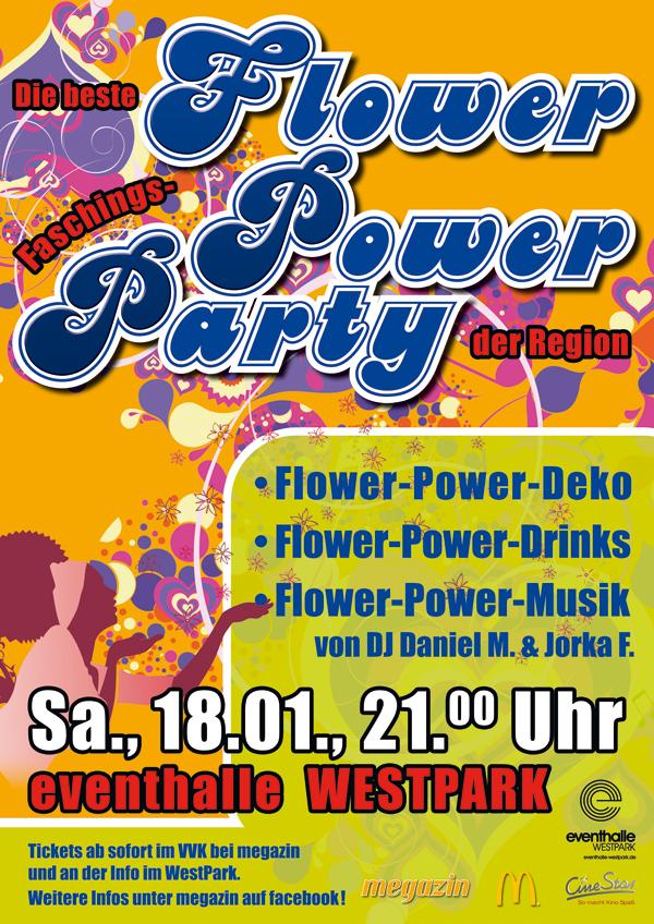 70er flower power party samstag 21 00 uhr eventhalle westpark ingolstadt. Black Bedroom Furniture Sets. Home Design Ideas